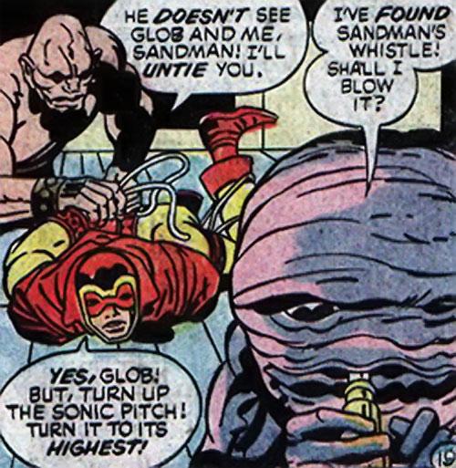 Brute and Glob (Sandman characters) (DC Comics) rescuing the Sandman