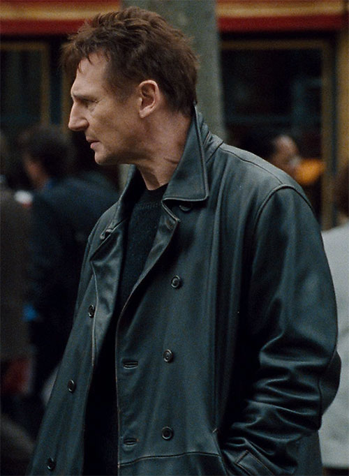 Bryan Mills (Liam Neeson in the Taken movie) with a black leather jacket
