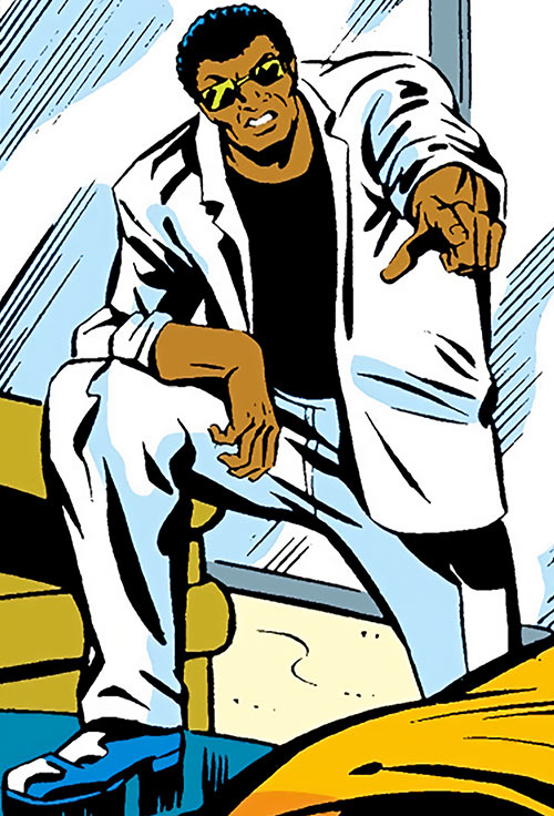 Bucky (Lemar Hoskins) (Captain America character) (Marvel Comics) in a white suit and shades