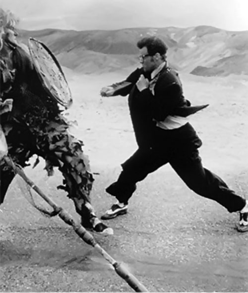 Buddy (Jeffrey Falcon in 6 string samurai) vs. a very tall man