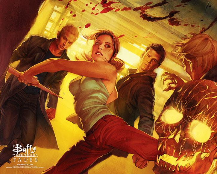 Buffy kicks an opponent away