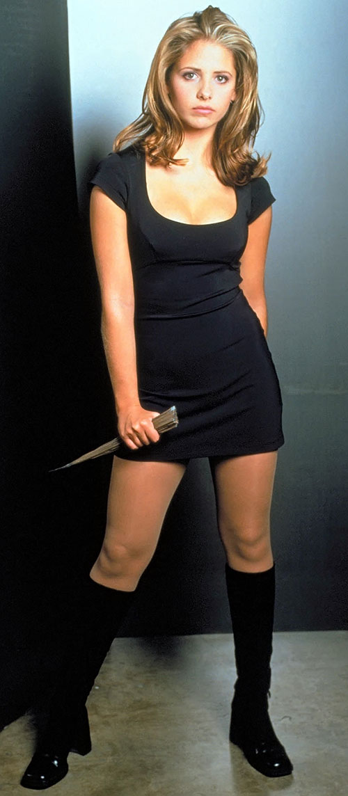 Buffy the Vampire Slayer (Sarah Michelle Gellar) black minidress and stake