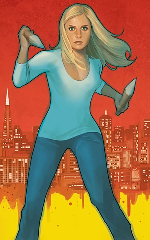 Buffy the Vampire Slayer (Sarah Michelle Gellar) comic book art dual stakes