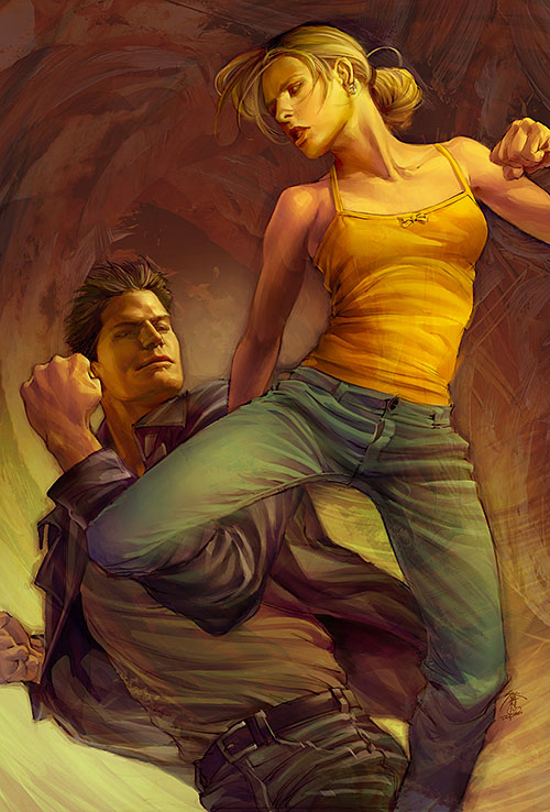 Buffy the Vampire Slayer (Sarah Michelle Gellar) jump kick art