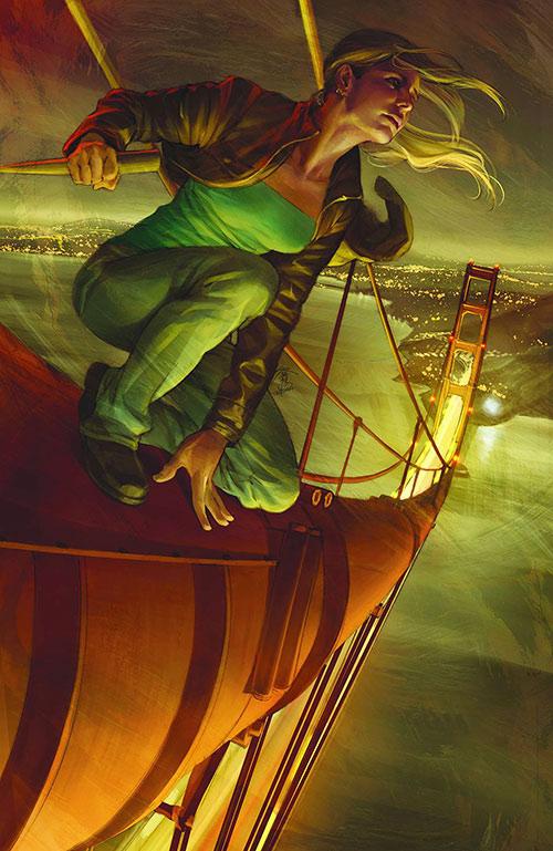 Buffy the Vampire Slayer (Sarah Michelle Gellar) high atop a bridge