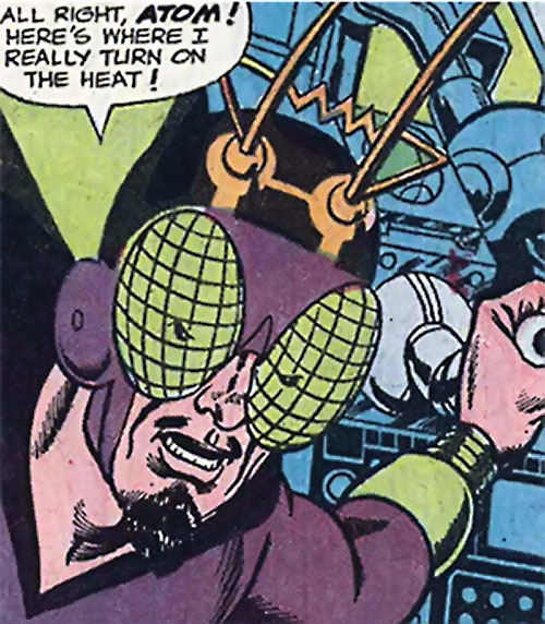 Bug-Eyed Bandit (Atom enemy) (DC Comics) face closeup activating a machine