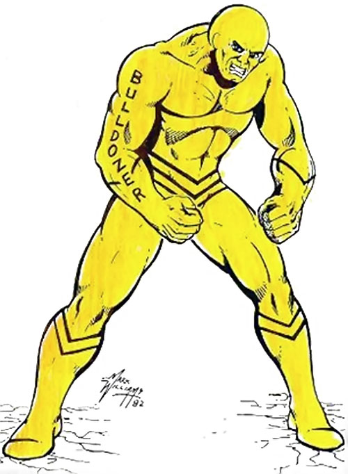 Bulldozer (Champions RPG) in his yellow costume by Mark Williams