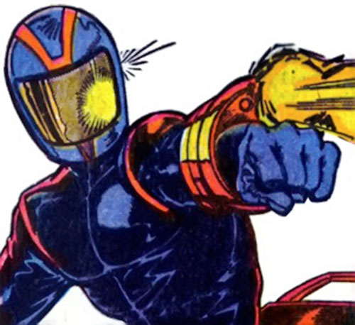 Bullet Biker (Marvel Comics) firing his wrist gun