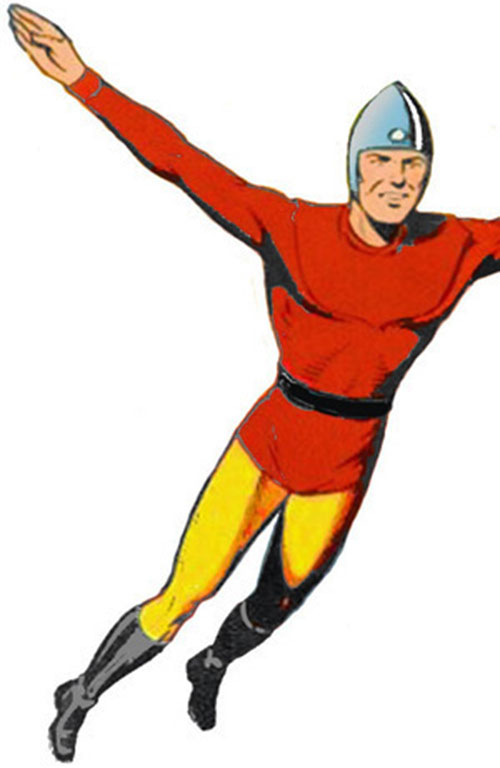 Bulletman flying over a white background, vintage art