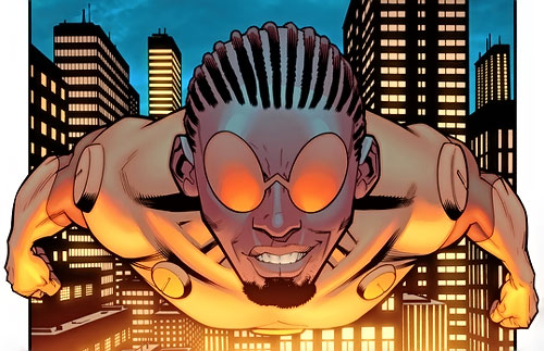 Bulletproof of the Guardians of the Globe (Invincible Image Comics) flying over the city
