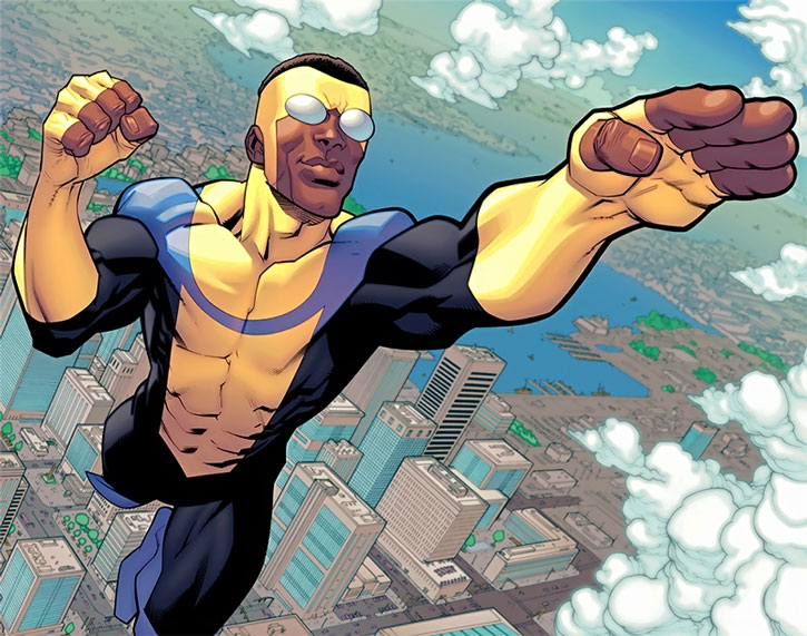 Bulletproof flying, wearing the Invincible costume