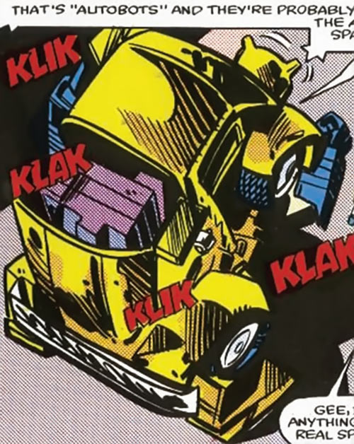 Bumblebee of the Transformers (1980s Marvel Comics) transforming