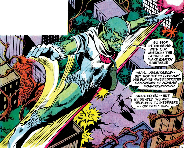 Bur Sed and Ker Sed (Justice League of America enemies) (DC Comics) soaring city alien plants