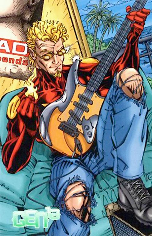 Burnout (Gen13) (Image Comics) with a guitar