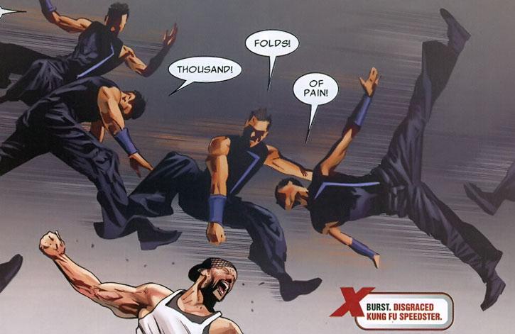 Burst makes a superspeed kung fu jump