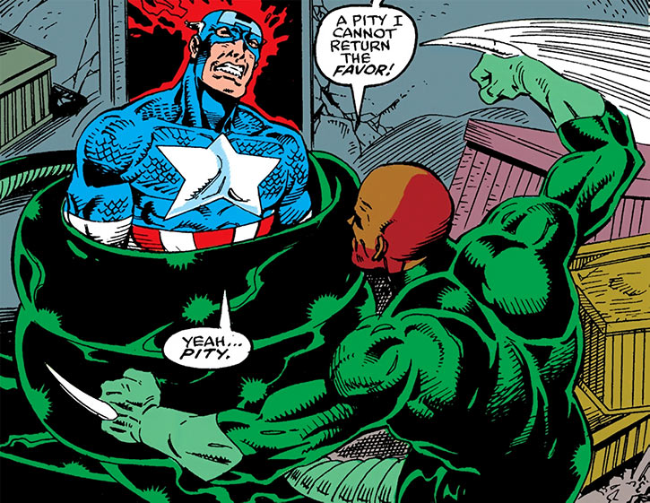Bushmaster squeezes Captain America in his coils