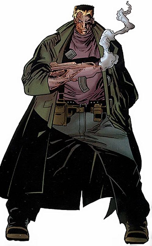 Bushwacker (Marvel Comics) wearing a trench coat
