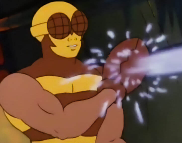 Buzz-Off (Masters of the Universe) 1980s cartoon, blocking with a pincer