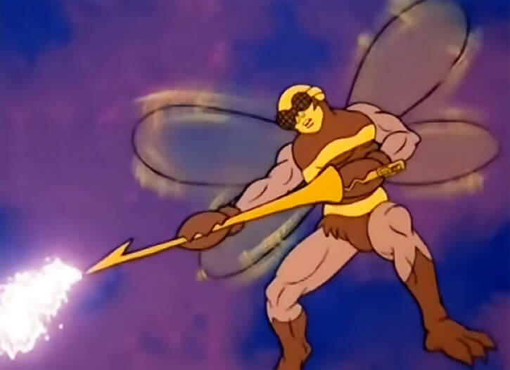 Buzz-Off (Masters of the Universe) 1980s cartoon, flying and blasting