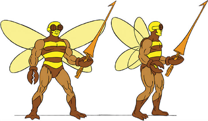 Buzz-Off (Masters of the Universe) 1980s cartoon, model sheet turn