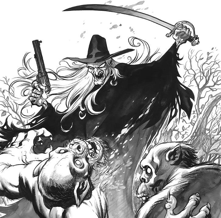 Buzzard (Eric Powell's Goon comics) fights two humanoids