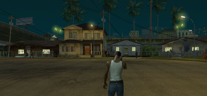 Grove Street in Grand Theft Auto San Andreas by dusk