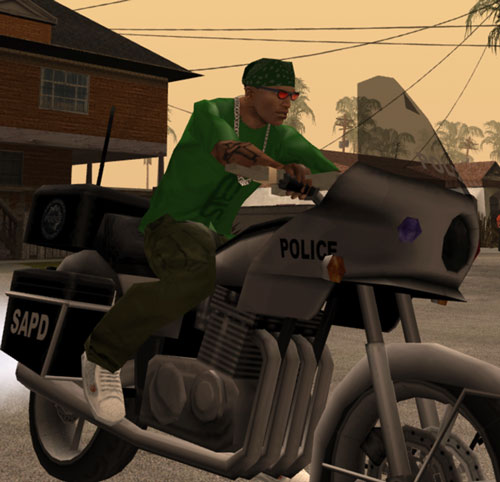 CJ (Grand Theft Auto San Andreas) on a police motorbike