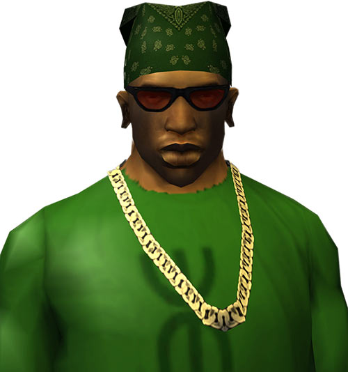 CJ (Grand Theft Auto San Andreas) with bandanna, red shades and Cuban chain