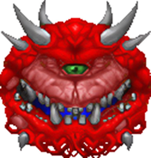 Cacodemon in the vintage Doom video games - Upscale by Hidfan