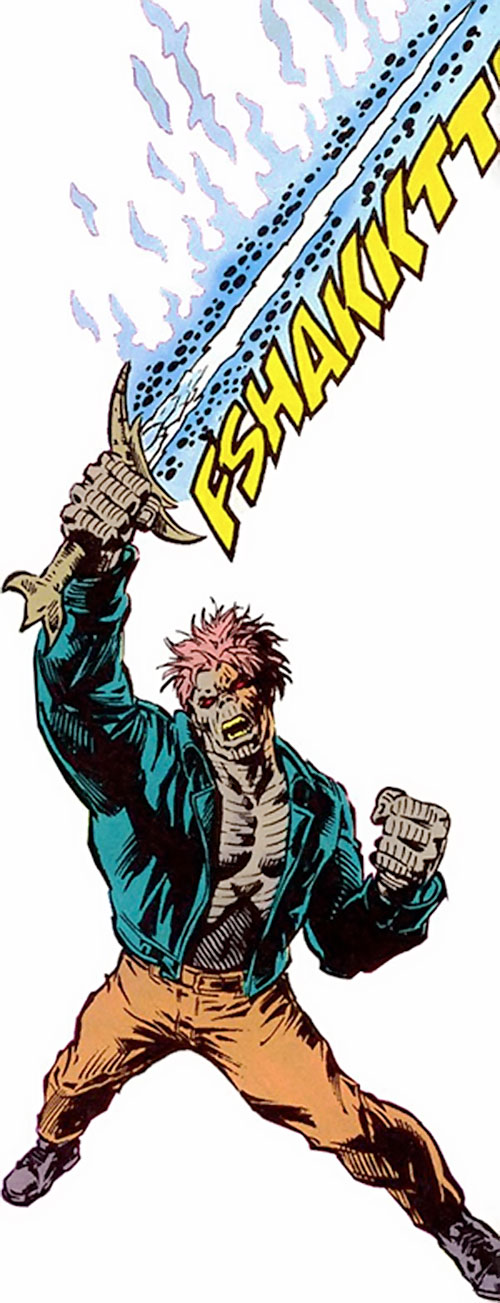 Cadaver of the Secret Defenders (Marvel Comics) brandishing his magic bone sword