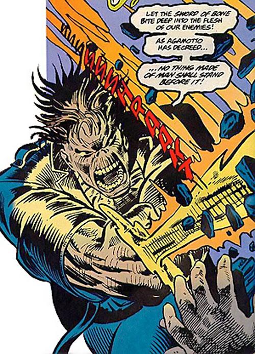 Cadaver of the Secret Defenders (Marvel Comics) strikes with his bone sword