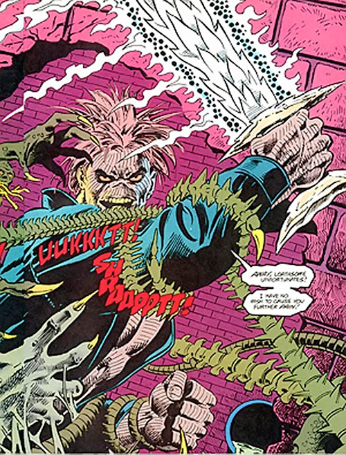 Cadaver of the Secret Defenders (Marvel Comics) fights spine monsters with his sword
