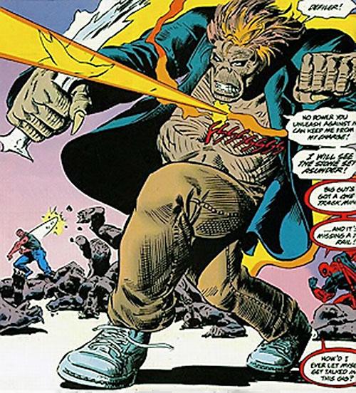 Cadaver of the Secret Defenders (Marvel Comics) ignores an energy beam