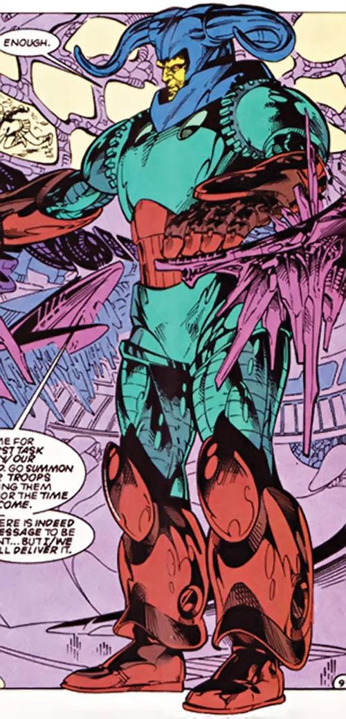 Overmaster (JLA enemy) (DC Comics) in armor with alien computers
