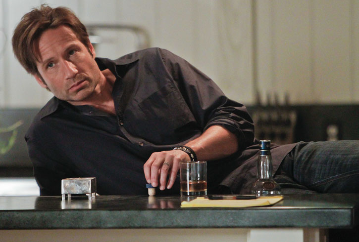 Hank Moody (David Duchovny in Californication) looking glum with alcohol