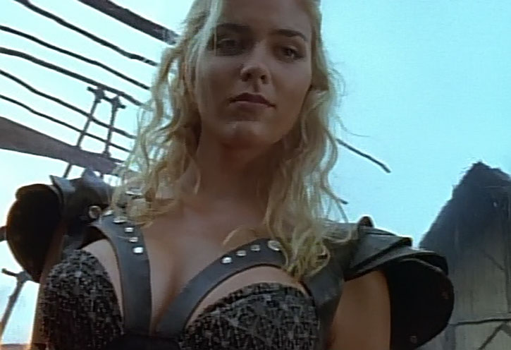 Callisto (Hudson Leick) and her push-up leather armor