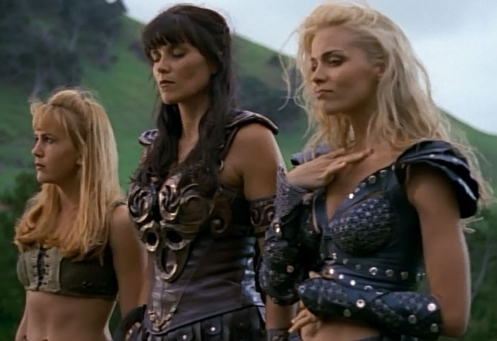 Callisto (Hudson Leick) with Xena and Gabrielle