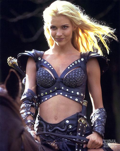 Callisto (Hudson Leick in Xena) riding, light in blonde hair