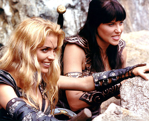 Callisto (Hudson Leick in Xena) and Xena (Lawless)