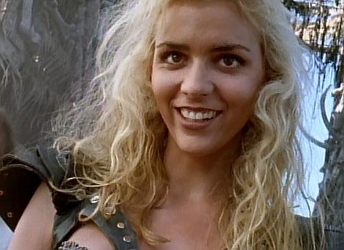 Callisto (Hudson Leick in Xena) grinning