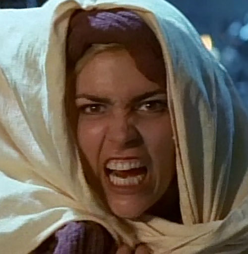 Callisto (Hudson Leick in Xena) shrieking, white cloak