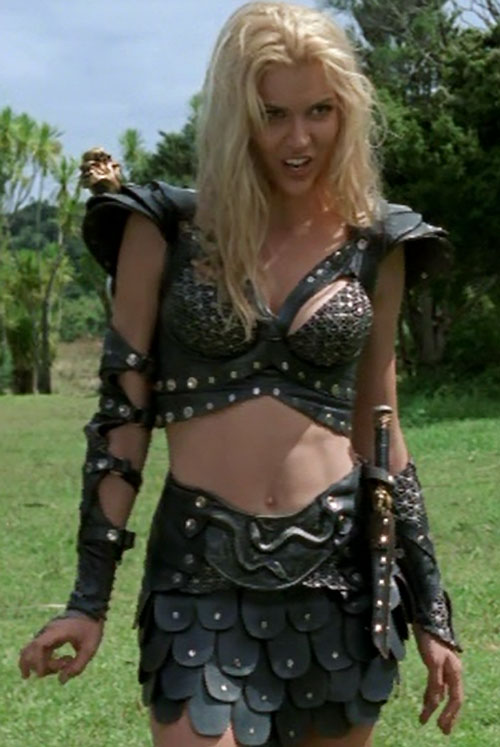 Callisto (Hudson Leick in Xena) black leather abs