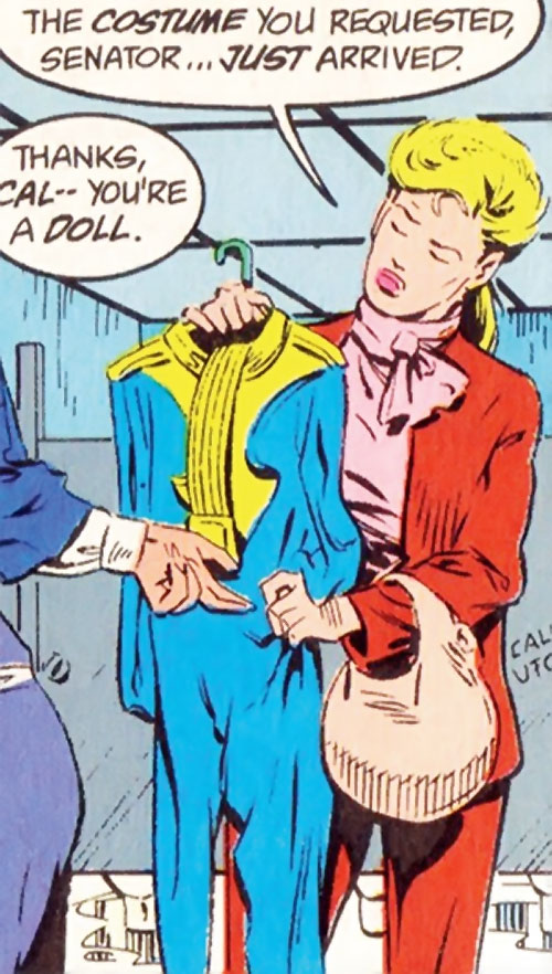 Calorie Queen (DC Comics) (Legion of Super-Heroes 5 year gap) in a red pantsuit