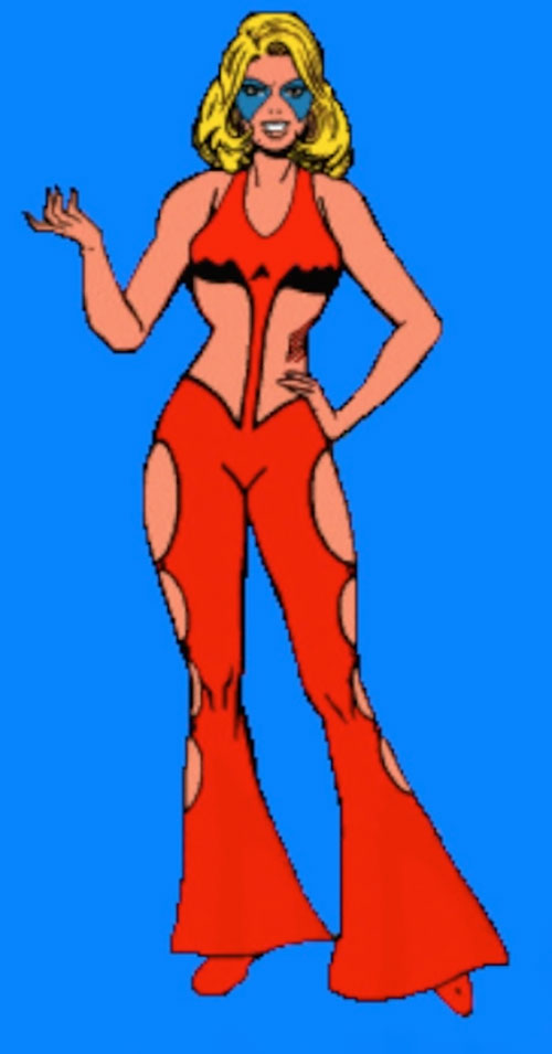Calorie Queen of the Legion of Super-Heroes (DC Comics) over a blue background