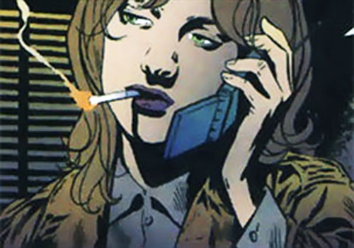 Agent Cameron Chase smoking on the phone