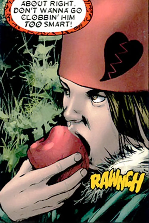 Cammi (Drax character) (Marvel Comics) eating an apple with an evil glare