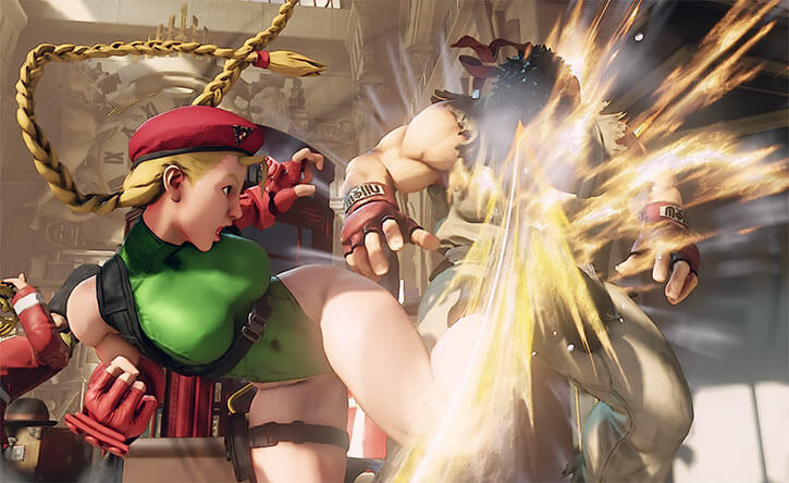 Cammy (Street Fighters Capcom) kicking Ryu in the face
