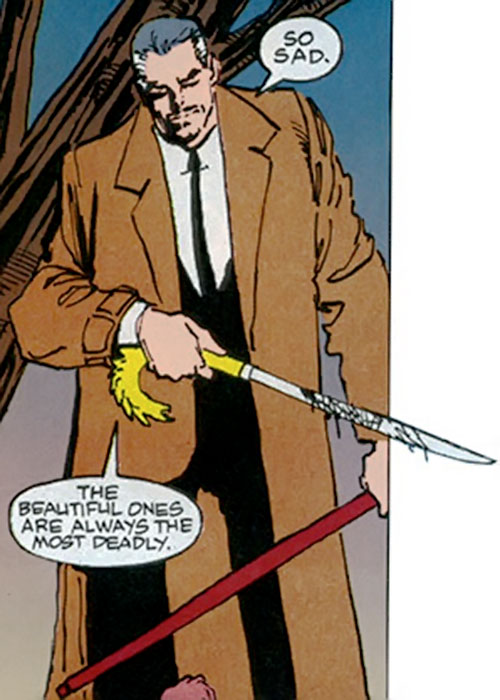 Cane (Punisher enemy) (Marvel Comics) with a bloody sword cane