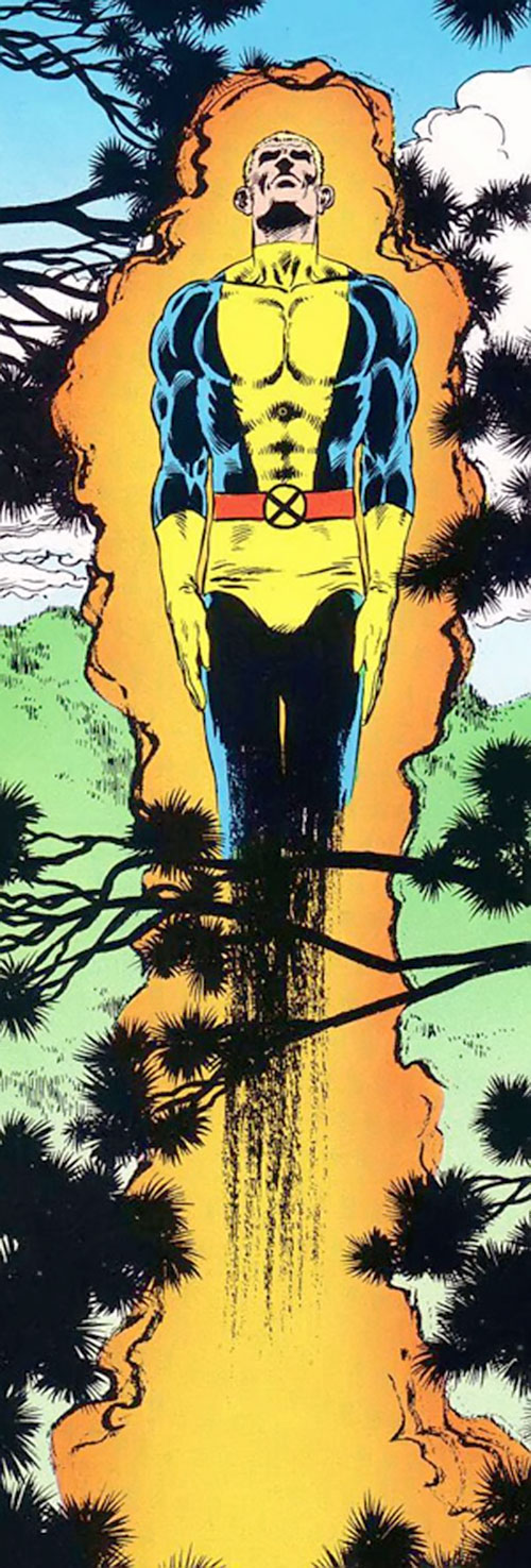 Cannonball (New Mutants) (Marvel Comics) flying above a forest