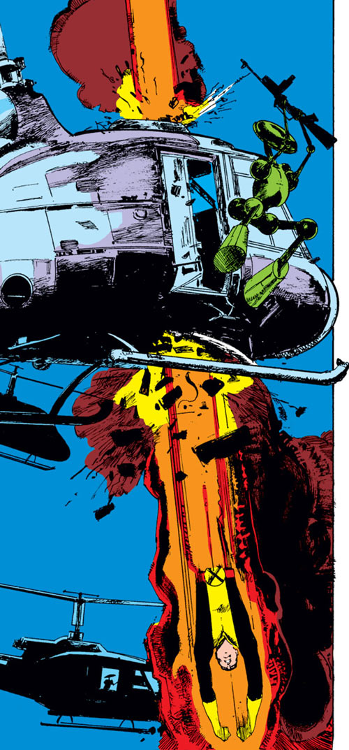 Cannonball of the New Mutants (Marvel Comics) ramming an helicopter